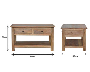 Solid wood coffee table with 4 drawers in oak effect