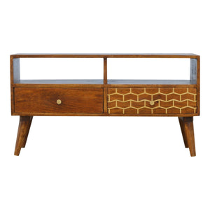 Art nouveau Gold Pattern Media Unit exclusive at the carpenters.co.uk. Solid wood furniture at its finest