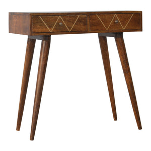 Aureate Geometric Print 2 Drawer Console Table