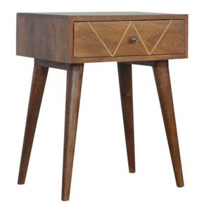 Aurete Geometric Print Single Drawer Bedside Table. Simple yet elegant hand-crafted solid wood furniture. Perfect for any bits and pieces near your bed. Exclusively available at thecarpenters.co.uk.