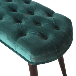Aurora Deep Button Bench in Emerald Cotton Velvet. Hand-crafted to perfection. Elegant looking bench, great addition to your home. Exclusively available at thecarpenters.co.uk.