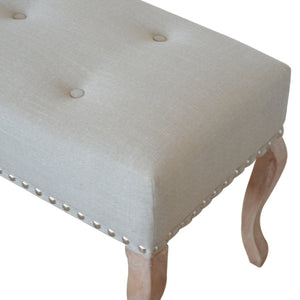 Banquette Cream Studded Hallway Bench. Hand-crafted to perfection for vintage look. Great addition to your home. Exclusively available at thecarpenters.co.uk.