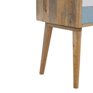 Bedside Table With Blue and White Hand-Painted Drawers. Hand-crafted to perfection. Best for any bits and pieces you wish to keep near your bed. Exclusively available at thecarpenters.co.uk