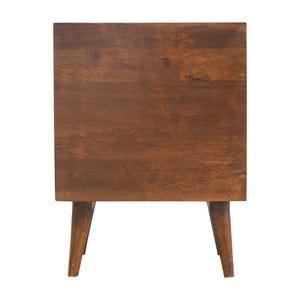 Bedside Table with Brass Inlay 3 Drawer