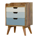 solid wood Bedside with Blue Hand Painted Drawers. Exclusive solid wood furniture available only at thecarpenters.co.uk