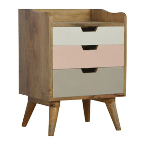 Bedside with Blush Pink and White Hand Painted Cut Out Drawers. Perfectly hand-crafted to be paired with your bed! Exclusively available at thecarpenters.co.uk.