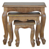 Hand-made 3 pieces of wooden stool in natural oak effect
