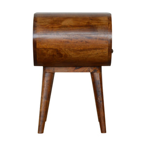Chestnut Circular Bedside with Open Slot. Hand-crafted to perfection. Ideal for any bits and pieces near your bed. Exclusively available at thecarpenters.co.uk.