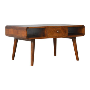 Beautifully crafted Chestnut Coffee Table Curved Design. Solid wood furniture exclusively available only at thecarpenters.co.uk