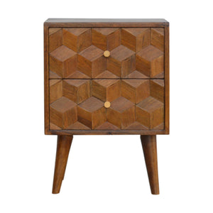 Chestnut Cube Curved 2-Drawer Bedside Table. Beautifully hand-crafted. Perfect for any bits and pieces near your bed. Exclusively available at thecarpenters.co.uk.