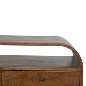 Chestnut Curved Edge 2-Drawer Media Unit. Simple yet elegant hand-crafted media unit. Exclusively available at thecarpenters.co.uk.