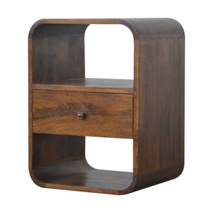 Chestnut Curved Edge Bedside Table. Hand-crafted to perfection. Ideal for any bits and pieces near your bed. Exclusively available at thecarpenters.co.uk.