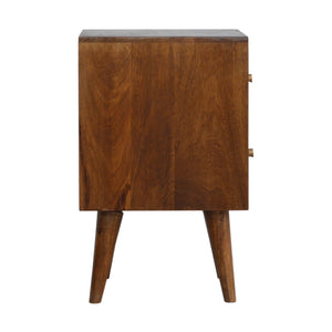Chestnut Diamond Carved 1-Drawer Bedside Table