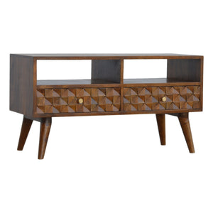 Chestnut Diamond Carved 2-Drawer Media Unit. Hand-crafted to perfection. Ideal to your living room. Exclusively available at thecarpenters.co.uk.