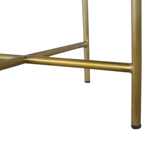 Chestnut End Table with Gold Criss-Cross Base. Hand-crafted to perfection. Add this beauty to your home. Exclusively available at thecarpenters.co.uk.