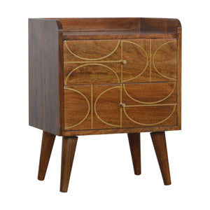 Chestnut Gold Inlay Abstract Bedside Table. Elegant addition to your home. Exclusively available at thecarpenters.co.uk.