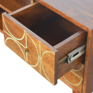 Chestnut Gold Inlay Abstract Media Unit. Elegant looking media unit. Hand-crafted to perfection. Great addition to your living room. Exclusively available at thecarpenters.co.uk.