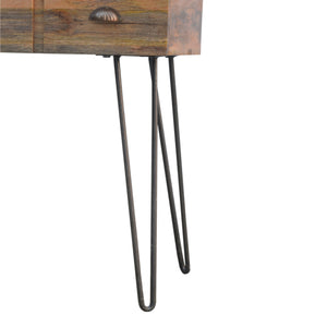 Solid wood Console Table with Iron Base 4 Drawer. Hand-crafted to perfection. Exclusive solid wood furniture only at thecarpenters.co.uk