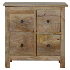 Solid wood mini cabinet with 4 drawers in oak effect
