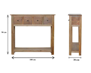 Hand-made console table with 4 drawers in natural oak effect