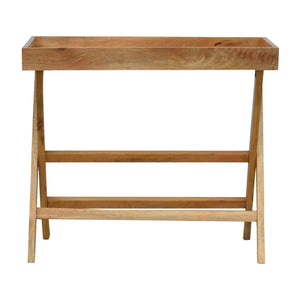 Solid wood butler tray with foldable legs in oak effect