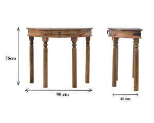 Hand-made console table with turned legs in oak effect