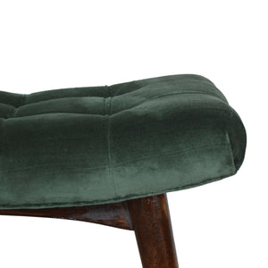 Curvare Deep Button Bench In Emerald Cotton Velvet. Hand-crafted to perfection. This elegant looking bench is perfect at your home. Exclusively available at thecarpenters.co.uk.