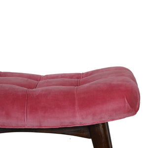 Curvare Deep Button Bench In Pink Cotton Velvet. Beautifully hand-crafted solid wood furniture. Classy addition to your home. Exclusively available at thecarpenters.co.uk.