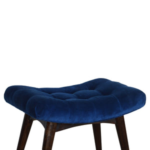 Curvare Deep Button Bench In Royal Blue Cotton Velvet. Beautifully hand-crafted solid wood furniture. Exclusively available at thecarpenters.co.uk.