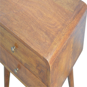 Curved Chestnut Bedside Table solid wood. Exclusive mango wood furniture only  available at thecarpenters.co.uk
