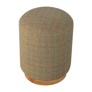 Cylindrical Multi Tweed Footstool. Perfect piece of furniture at every home. Exclusively available at thecarpenters.co.uk.