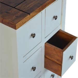 Beautiful two tone country style cabinet Delicia with 6 Drawers. Exclusive solid wood furniture only available at thecarpenters.co.uk