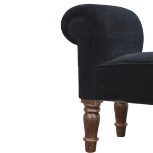 Emerino Bench In Black Velvet solid wood furniture. Exclusive furniture available only at thecarpenters.co.uk Furniture at its finest