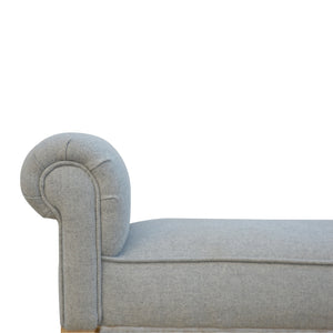 Emerino Bench In Grey Tweed. Beautifully hand-crafted solid wood furniture. Exclusively available at thecarpenters.co.uk.
