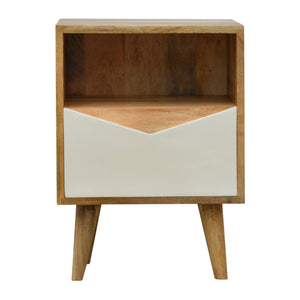 Envelope Style White Painted Drawer Bedside Table with Open Slot. Beautifully hand-crafted solid wood furniture. Perfect for that minimalist style. Exclusively available at thecarpenters.co.uk.