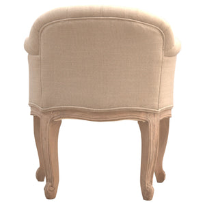 Formschön French Style Mud Linen Accent Chair. Fashionable hand-crafted solid wood furniture. Perfect for modern and classic home style. Exclusively available at thecarpenters.co.uk.