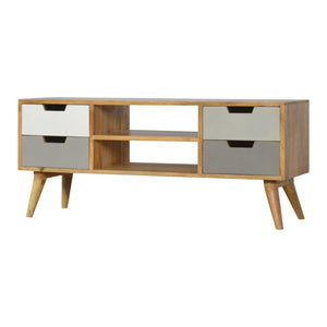 Media Unit with 4 Grey Hand-painted Drawers and 2 Open Slots
