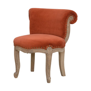 Höchst Studded Chair with Cabriole Legs in Brick Red Velvet. Elegant addition to your home. Hand-crafted to perfection. Exclusively available at thecarpenters.co.uk.