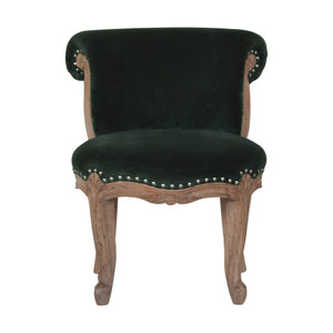 Höchst Studded Chair with Cabriole Legs in Emerald Green Velvet. Classic and elegant hand-crafted solid wood furniture. Exclusively available at thecarpenters.co.uk.