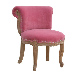 Höchst Studded Chair with Cabriole Legs in Pink Velvet. Classy and stylish addition to your home. Hand-crafted to perfection. Exclusively available at thecarpenters.co.uk.