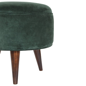 Hunter's Moon Footstool in Emerald Green Velvet. Hand-crafted velvet and solid wood. Exclusively available at thecarpenters.co.uk.
