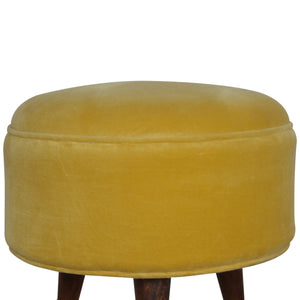 Hunter's Moon Footstool in Mustard Velvet. Beautifully hand-crafted solid wood furniture. Exclusively available at thecarpenters.co.uk.