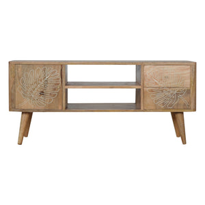 Leaf Embossed Resin Solid Wood Media Unit. Beautifully hand-crafted solid wood furniture. Perfect for your TV. Exclusively available at thecarpenters.co.uk.