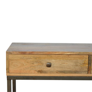Solid Wood Industrial Iron Base Console Table, exclusive mango wood. Only available at thecarpenters.co.uk