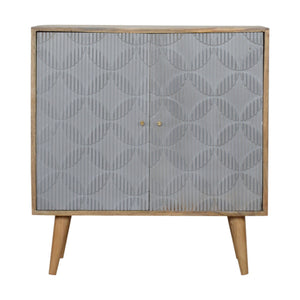Laurete Geometric Carved Grey Painted Cabinet. Elegant looking hand-crafted solid wood cabinet. Lovely addition to your home. Exclusively available at thecarpenters.co.uk.