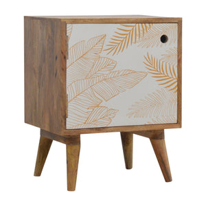Leaf Screen-printed Door Front Bedside with Cut-out Slot. Simple yet quirky bedside table for your needs near your bed. Exclusively available at thecarpenters.co.uk.