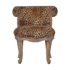 Leopard Print Studded Chair with Cabriole Legs. Hand-crafted to perfection. Add this classy chair to your home. Exclusively available at thecarpenters.co.uk.