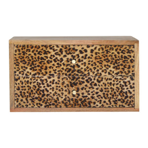Hand-made bedside table with 2 drawers in leopard print