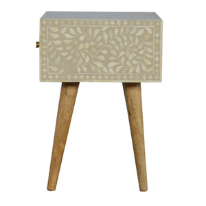 Light Taupe Floral Bone Inlay Bedside. Beautifully hand-crafted solid wood furniture. Exclusively available at thecarpenters.co.uk.