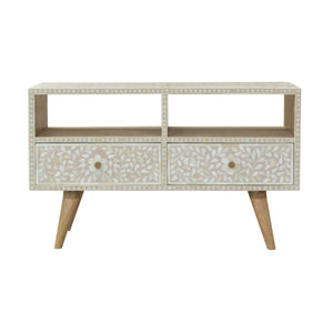 Light Taupe Floral Bone Inlay Media Unit. Hand-crafted to perfection. Exclusively available at thecarpenters.co.uk.